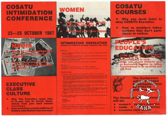 COSATU INTIMIDATION CONFERENCE:COSATU COURSES :EXECUTIVE CLASS CULTURE (AL2446_2625) This poster, which is titled as 'Poster 85', was produced by unknown parties to undermine the Congress of South African Trade Unions (COSATU) and sabotage COSATU's first Education Conference (which was advertised as 'Poster 84').