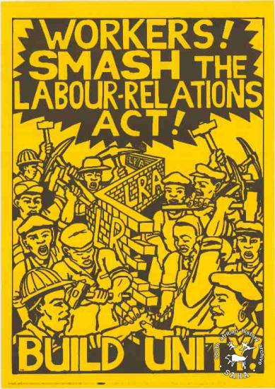 WORKERS! SMASH THE LABOUR - RELATIONS ACT! BUILD UNITY!AL2446_0587  created by Justin Wells and issued by COSATU and NACTU, Johannesburg. This poster refers to the Anti-Labour Relations Act Campaign.