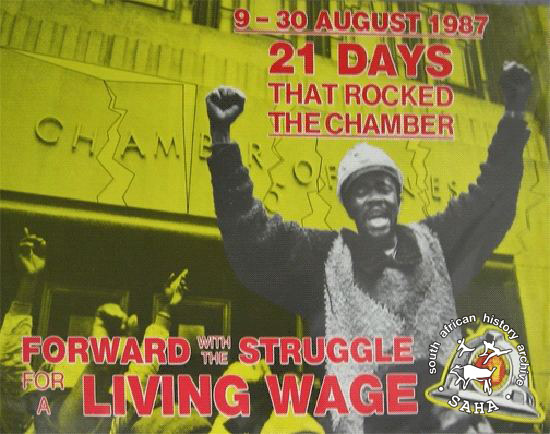 9-30 August 1987:21 days that rocked the chamber: Forward with the struggle of a living wage. AL2446_0060  This poster depicts NUM celebrating the end of the national miners' strike.