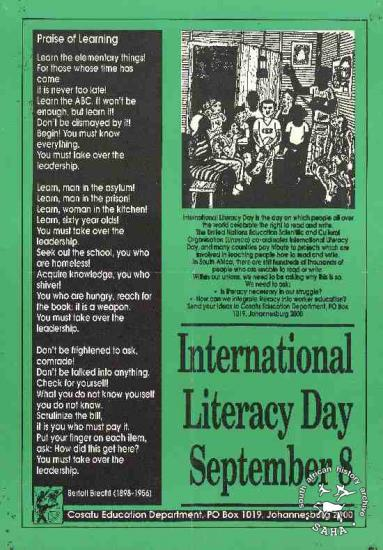 International Literacy Day September 8 AL2446_1118 This poster publicises COSATU's participation in International Literacy Day