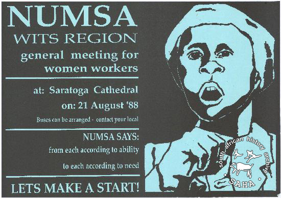 NUMSA WITS REGION general meeting for women workers AL2446_0767 produced by NUMSA, Johannesburg. This poster advertises a general meeting for women workers.
