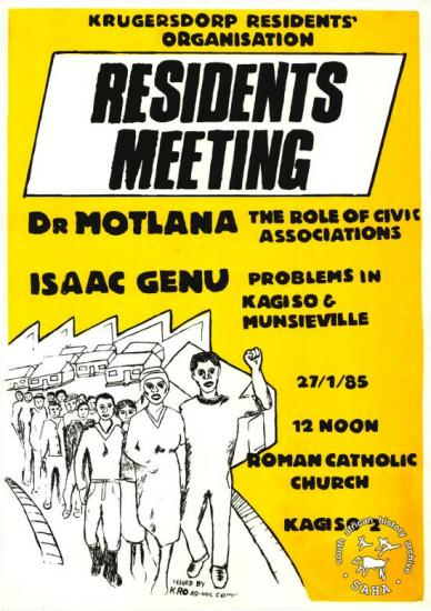 KRUGERSDORP RESIDENTS' ORGANISATION: RESIDENTS MEETING 	AL2446_0251 produced by the Krugersdorp Residents Organisation (KRO) Ad-Hoc Committee at the Screen Training Project (STP), Johannesburg. This poster relates to a Krugersdorp residents meeting that allowed locals to discuss civic issues.