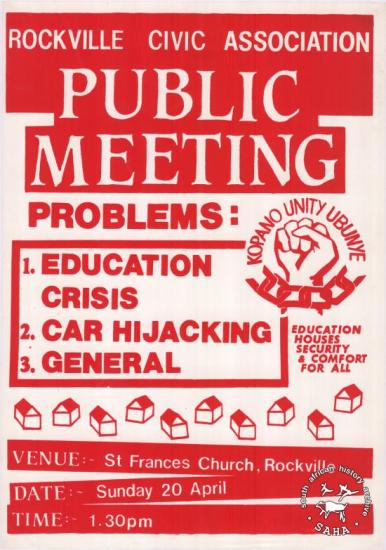 ROCKVILLE CIVIC ASSOCIATION: PUBLIC MEETING AL2446_0361 produced by the Rockville Civic Association at the Screen Training Project in circa in 1985. This image advertises a meeting to discuss community problems in Rockville.