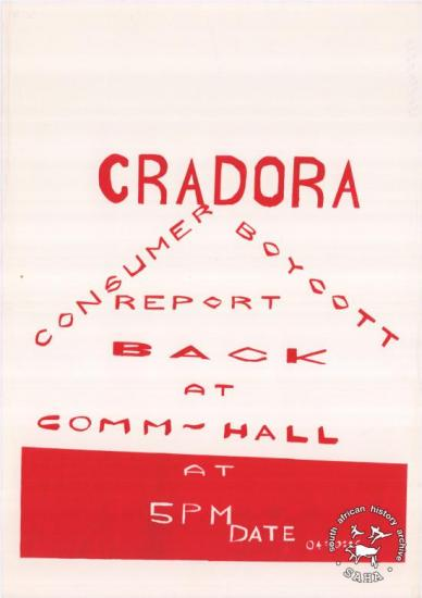 CRADORA: CONSUMER BOYCOTT: REPORT BACK AT COMM - HALL  	AL2446_0433