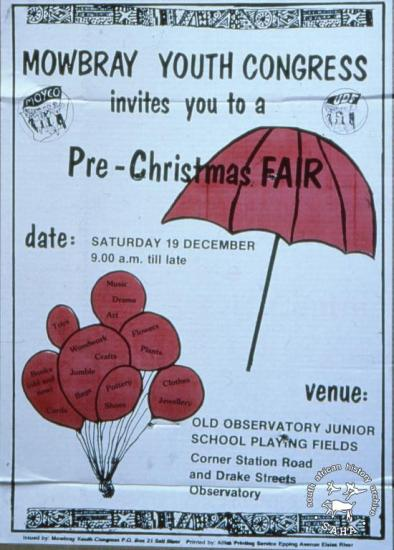 MOWBRAY YOUTH CONGRESS invites you to a Pre-Christmas Fair AL2446_2609