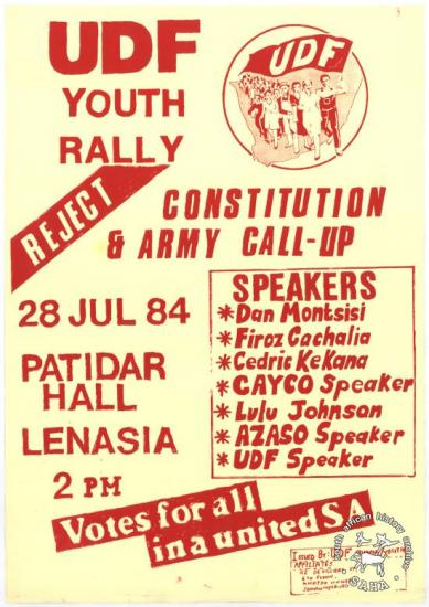 REJECT CONSTITUTION AND ARMY CALL-UP AL2446_3866 produced by the United Democratic Front (UDF) student and youth affiliates at the Screen Training Project (STP), Johannesburg.