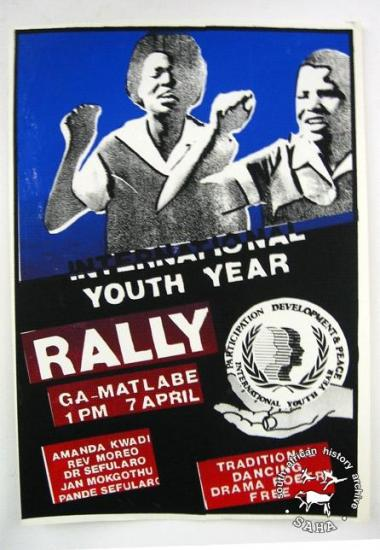 NTERNATIONAL YOUTH YEAR: RALLY AL2446_0171 	This poster is silkscreened black, blue, red and white, produced by the International Youth Year (IYY) Committee, Johannesburg.
