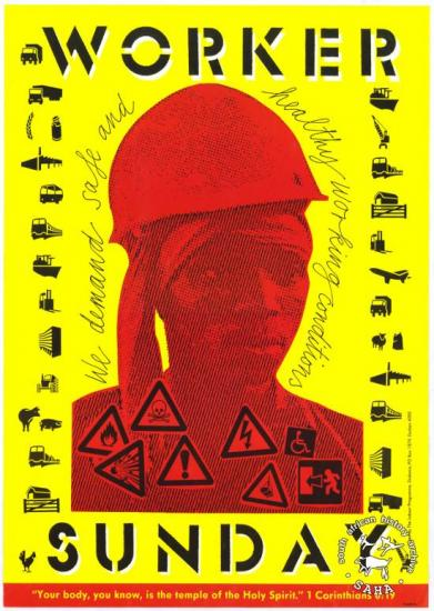 WORKER SUNDAY : we demand safe and healthy working conditions  AL2446_2162  produced by the Labour Programme of Diakonia, Durban. This poster refers to the churches expressing their solidarity with the workers' struggle.