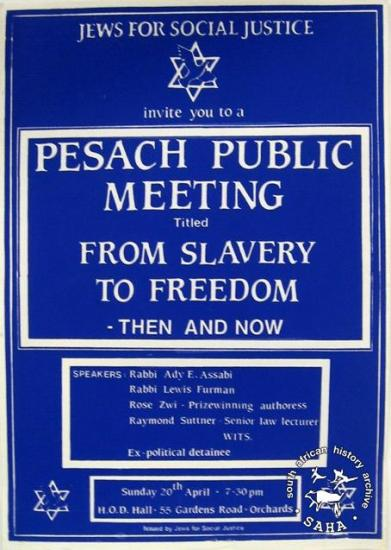 JEWS FOR SOCIAL JUSTICE invite you to a PESACH PUBLIC MEETING Titled : FROM SLAVERY TO FREEDOM - THEN AND NOW  AL2446_0336 1986. Progressive Jewish group holds meeting to focus on the universal struggle for freedom.