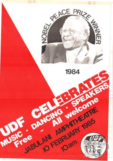 NOBEL PEACE PRIZE WINNER 1984: UDF CELEBRATES AL2446_0168 1985. Democratic organisations honour Bishop Desmond Tutu, winner of the Nobel Peace Prize