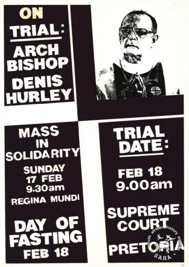 ON TRIAL: ARCHBISHOP DENNIS HURLEY AL2446_0259 1985. The Catholic Church backs Archbishop Denis Hurley, on trial as a result of his anti-apartheid stance.