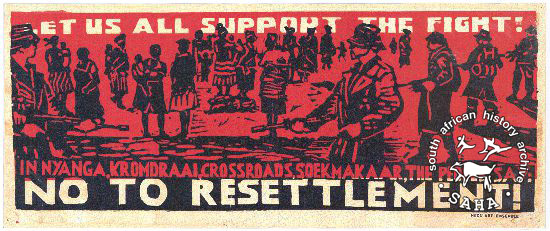 AL2446_2617 This poster is silkscreened in black and red, produced by Thami Mnyele and J Seidman, who based it on a woodcut by Figlan Mpikaypheli of the removals at Soekmakaas
