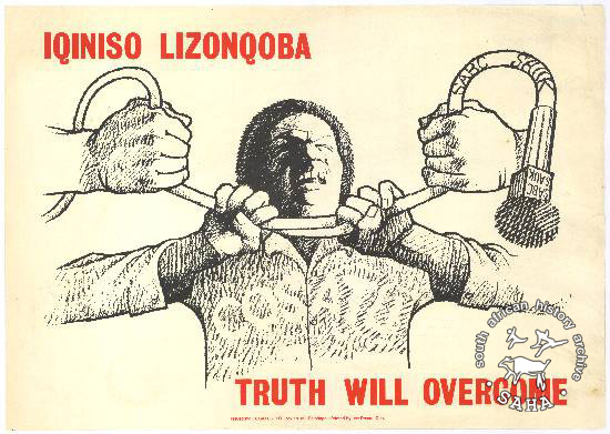 IQINISO LIZONQOBA! TRUTH WILL OVERCOME! AL2446_3398 The image shows a man being strangled by a microphone around his neck.