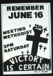 REMEMBER JUNE 16 : MEETING METHODIST : 2PM SATURDAY : VICTORY IS CERTAIN AL2446_2561 This poster refers to the youth and students reaffirming their determination their determination to fight until victory is received.