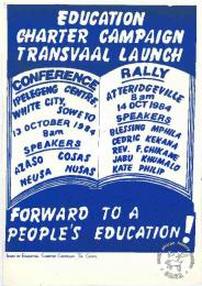 EDUCATION CHARTER CAMPAIGN TRANSVAAL LAUNCH : FORWARD TO A PEOPLE'S EDUCATION AL2446_1105 1984. The launch of a joint campaign by COSAS, NUSAS, NEUSA and AZASO for an Education Charter.