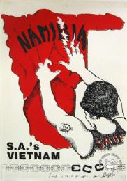NAMIBIA, S.A.'S VIETNAM - AL2446_0353 - produced by the ECC, Johannesburg. This poster protests the SADF's role in Namibia, and points out parallels with the USA's Involvement in Vietnam.