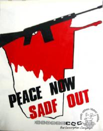 PEACE NOW: SADF OUT - AL2446_0295 - produced by the ECC at the STP, Johannesburg. This peace poster called for the removal of the SADF troops from Namibia.