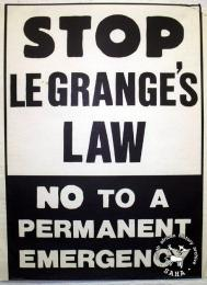 STOP Le Grange BILLS! JUNE 16 : AWAY WITH BANTU EDUC. : FORWARD TO PEOPLE'S EDUCATION : RALLY : ALEX STADIUM - AL2446_1691 - produced by DESCOM, Johannesburg. This poster was produced to protest the introduction by the then Minister of Law and Order of laws further suppressing democratic rights.