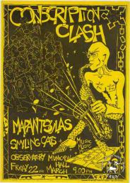 CONSCRIPTION CLASH: MAPANTSULAS: SMILING CATS   AL2446_0311 produced by the ECC, Cape Town. This poster was produced to advertise the music of the resistance, which was believed to overcome militarisation.