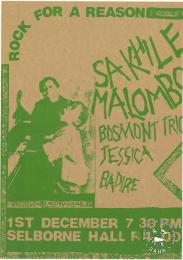 ROCK FOR A REASON : SAKHILE MALOMBO BOSMONT TRIO JESSICA BADIRE : 1ST DECEMBER 7 30 PM SELBORNE HALL R4.00  AL2446_1057  produced by the Johannesburg Democratic Action Committee (JODAC), Johannesburg. This poster advertises a concert that was supposed to be held at the Selborne Hall. The city council refused to give permission to the Johannesburg Democratic Action Committee (JODAC) to use the hall. This resulted in the concert being cancelled.
