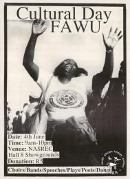 Cultural Day: FAWU  AL2446_0600  produced by COSATU for FAWU, Johannesburg. This poster depicts the excitement experienced at a union cultural event.