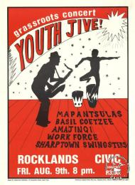 grassroots concert : YOUTH JIVE!  AL2446_2192  This poster is an offset litho in black and red, produced by the Grassroots Publications, Cape Town. This poster advertised local bands playing at a concert that was organized by a community newspaper.