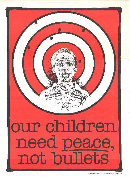 red, black and white poster in the form of a target board  depicting a childs face on and bullets holes in it. the text reads our children need police not bullets.