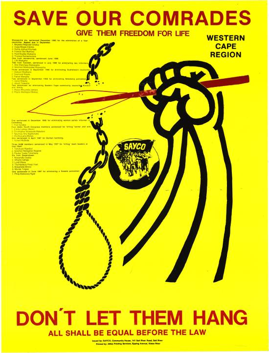 offset litho poster, SAYCO Western Cape Region, 1988. Archived as SAHA collection AL2446_0242