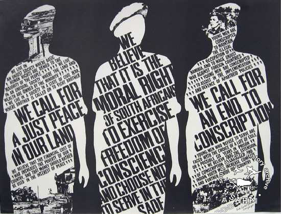 Offset litho poster in black and white with illustrations of three soldiers from newspaper cuttings was issued by the End Conscription Campaign (ECC) in 1986. SAHA archive AL2446_0318