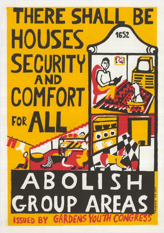 Silkscreened poster, issued by the Gardens Youth Congress (GAYCO), 1989. Archived as SAHA collection AL2446_0503.