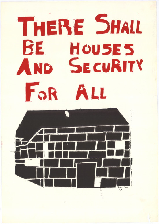 "Poster with words ""there shall be housing for all"""