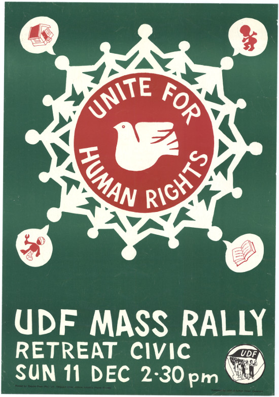 Offset litho poster, issued by the United Democratic Front (UDF), circa 1988. Archived as SAHA collection AL2446_1449.