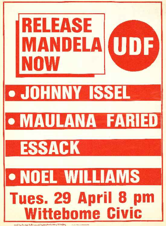 Poster calling for the release of Nelson Mandela.