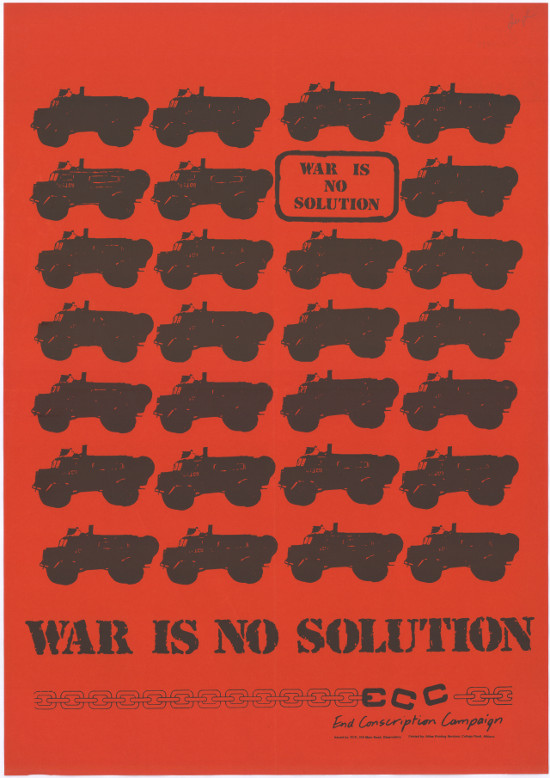 Offset litho poster, issued by the End Conscription Campaign (ECC), circa 1986. Archived as SAHA collection AL2446_1477