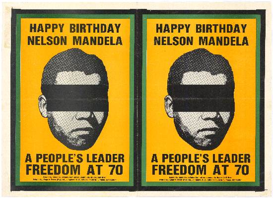 Freedom at 70: a political poster advertising Mandela's 70th birthday, AL2446_2111
