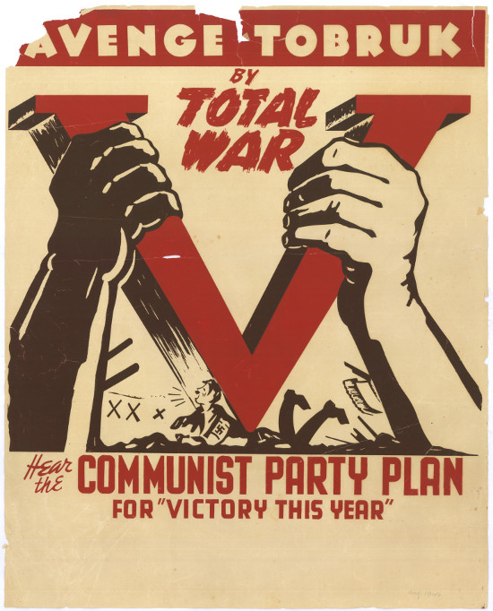 Silkscreened poster, issued by the Communist Party of South Africa, circa 1942. Archived as SAHA collection AL2446_3589