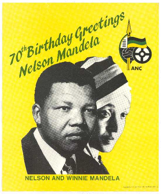 70th birthday tribute poster with photographs of Nelson and his wife, Winnie, SAHA Poster Collection, AL2446_4456