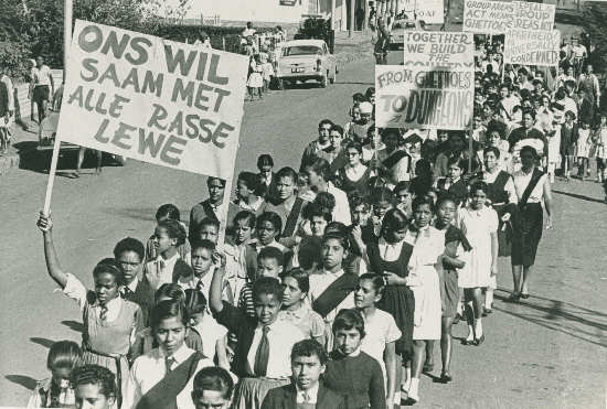 School children protesting against the Group Areas Act, 1955. Photographer unknown. Archived as SAHA collection AL2547_6.3.1