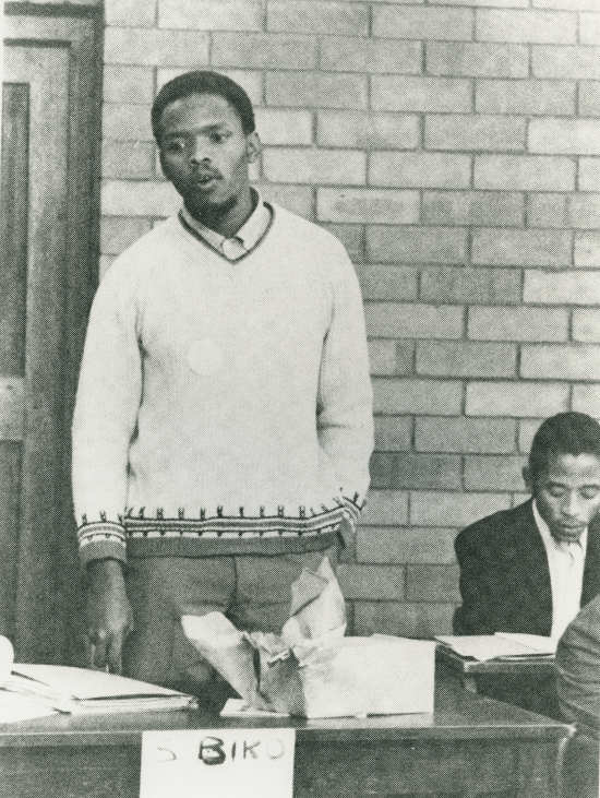 This black and white photograph of Steve Biko speaking at the second General Students Council of the South African Students Organisation (SASO) at the University of Natal in July 1971, was taken on behalf of the International Defence and Aid Fund (IDAF). Photographer and date unknown  	AL2547_16.2.3