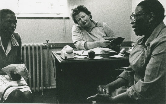 Sheena Duncan in the Johannesburg office of the Black Sash, AL2547_17.2.2, SAHA Original Photograph Collection