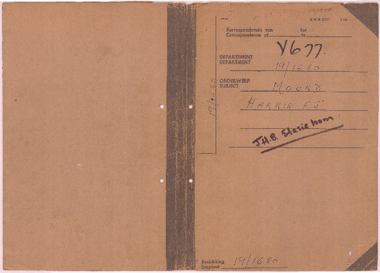 Cover of John Harris's prison register. Archived as SAHA collection AL3273_D1_001