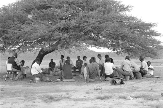 Meeting under a tree to discuss possible forced removal from land, Ntombi's Camp, KwaZulu-Natal, November 1988. Archived as SAHA collection AL3274_F36.12