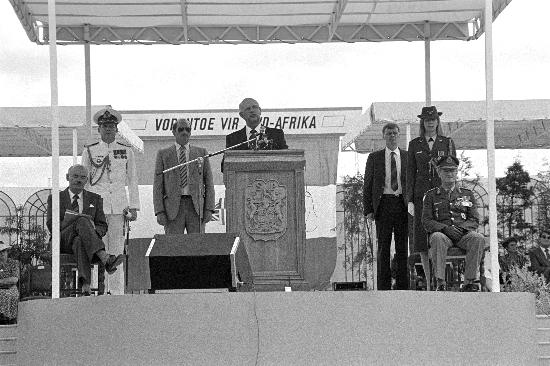 P.W. Botha addressing the crowd gathered for Gelofte Dag at the Voortrekker Monument, Pretoria, Gauteng, 16 December, 1988, Gille De Vlieg Collection, AL3274_F38.5