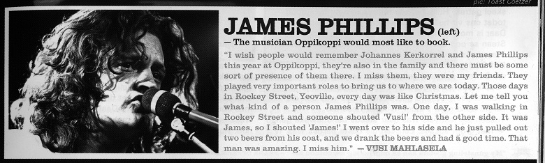 James Phillips - the musician Oppikoppi would most like to book