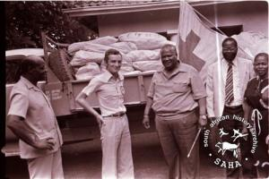 Food supplies delivered to Joshua Nkomo's house by the Red Cross international organisation