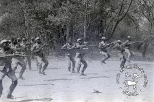 ZPRA cadres during bayonet charge practice in Freedom Camp