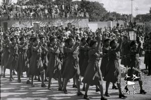 Cadres of the Women's Brigade marching at the Castle Arms Parade