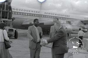 Yugoslavia delegates with reception goods