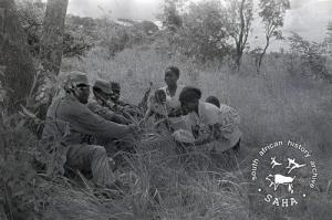 ZPRA guerrilla forces being given food by women