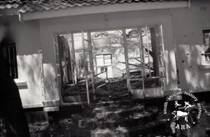 Joshua Nkomo's destroyed house after Rhodesian air and ground attack